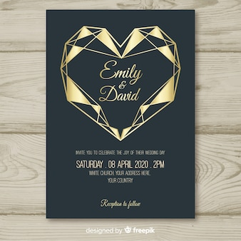 Geometrische hart bruiloft uitnodiging sjabloon