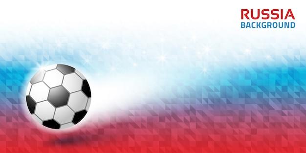 Geometrische heldere abstracte horizontale achtergrond. vlag van rusland 2018 kleuren. voetbal bal pictogram.