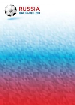 Geometrische heldere abstracte verticale achtergrond met vlagkleuren van rusland 2018. voetbal bal pictogram. illustratie.