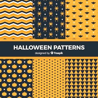 Geometrische het patrooninzameling van halloween in vlak ontwerp