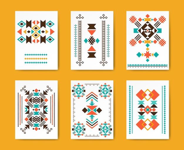Geometrische hipster tribal driehoekige flyers. etnisch traditioneel, creatief patroon,