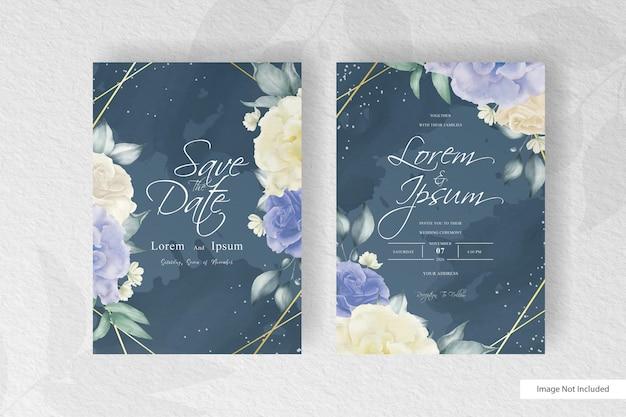Geometrische huwelijksuitnodiging met waterverf bloemen en plons