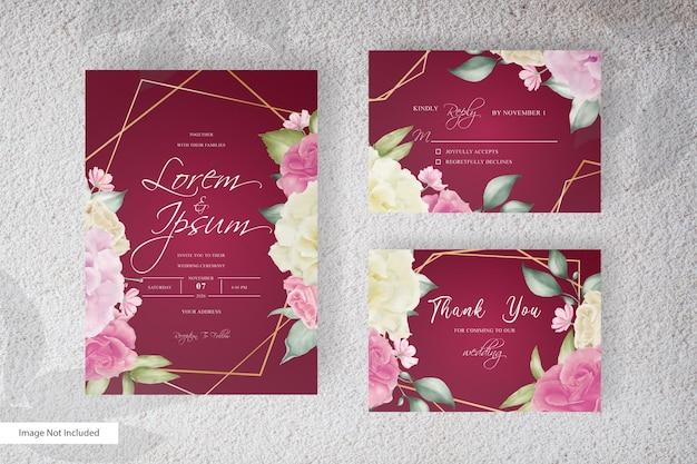Geometrische huwelijksuitnodiging met waterverf bloemen