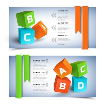 Geometrische infographic horizontale banners met kleurrijke 3d-kubussen