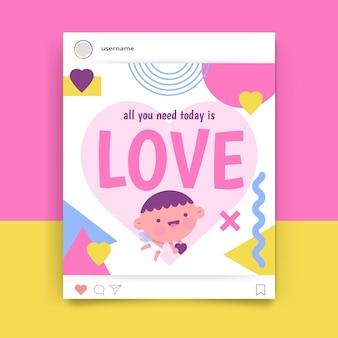 Geometrische kinderlijke valentijnsdag instagram-post