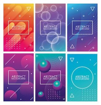 Geometrische kleurrijke abstracte achtergronden instellen