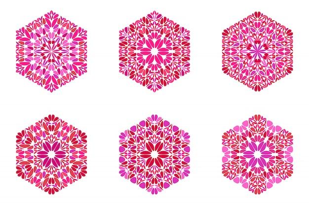 Geometrische kleurrijke abstracte bloemblaadje ornament zeshoekige vorm set