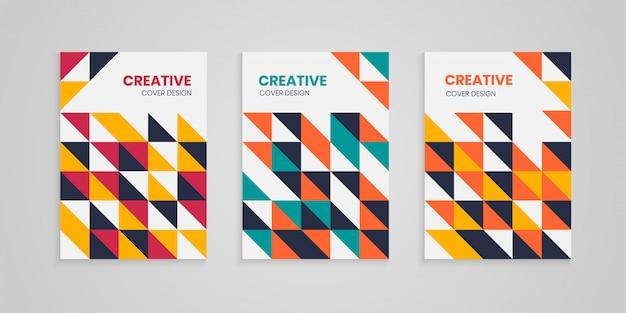 Geometrische kleurrijke abstracte cover book set