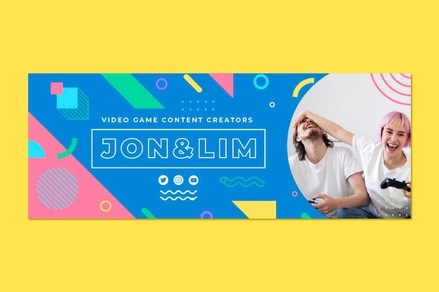 Geometrische kleurrijke gaming facebook-profielomslag