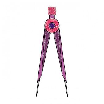 Geometrische kompas gebruiksvoorwerp krabbel