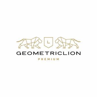 Geometrische leeuw wapenschild logo vector