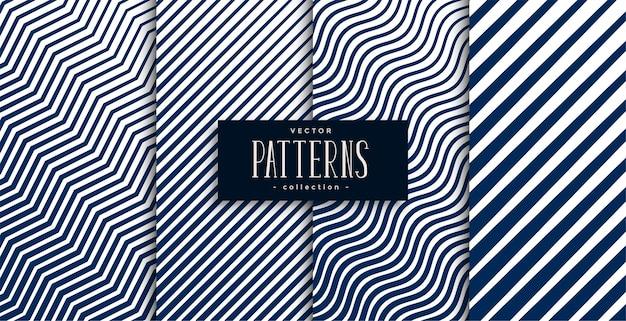 Geometrische lijnen zigzag golvend patroon set van vier