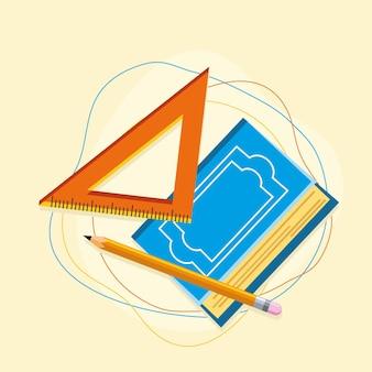 Geometrische liniaal met boek
