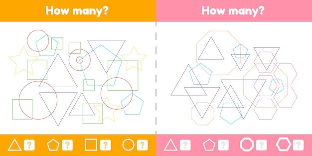 Geometrische logische educatief spel instellen voor kinderen van voorschoolse en schoolgaande leeftijd.