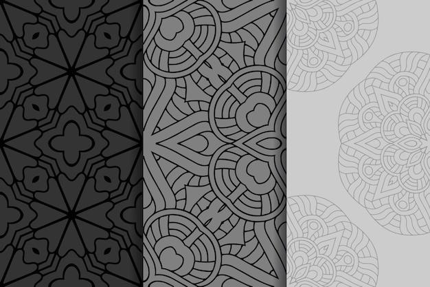 Geometrische mandala naadloze patroon set
