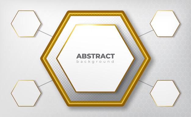 Geometrische medische concept grijze achtergrond met gouden lijn