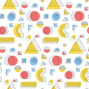 Geometrische memphis naadloze patroon. vectorillustratie van veelhoekige achtergrond.