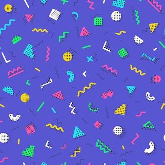Geometrische memphis naadloze patroonstijlen op lila