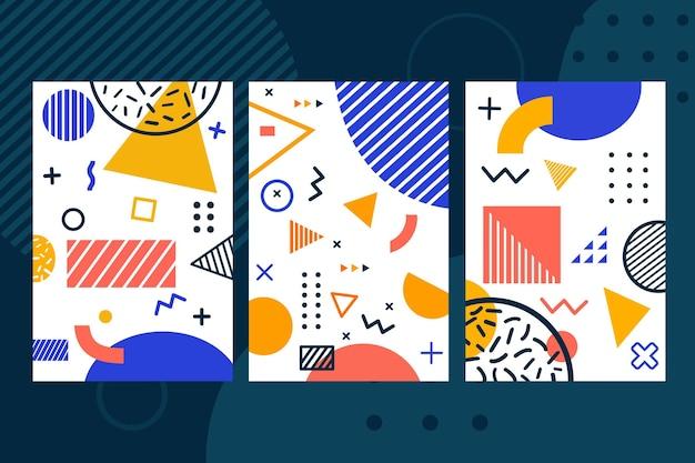 Geometrische memphis-ontwerpomslagset