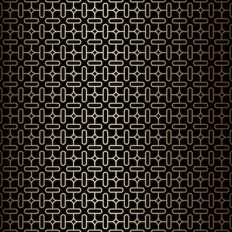 Geometrische minimale gouden en zwarte lineaire naadloze patroonachtergrond, art decostijl