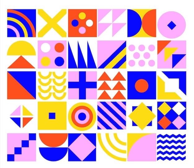 Geometrische minimalistische achtergrond met eenvoudige geometrie vormen en figuren-cirkel, vierkant, driehoek, lijn. posters, flyers en bannerontwerpen voor covers, web, bedrijfspresentatie, print. vectorillustratie