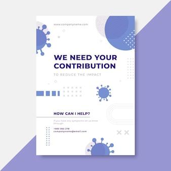 Geometrische minimalistische coronavirus-poster