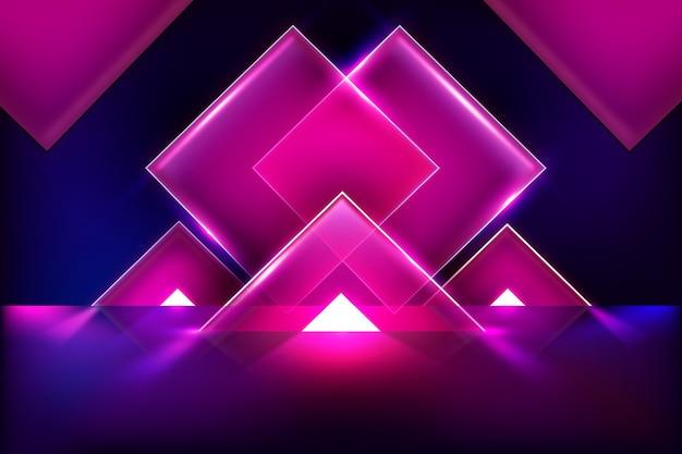 Geometrische modellen neonlichten achtergrond
