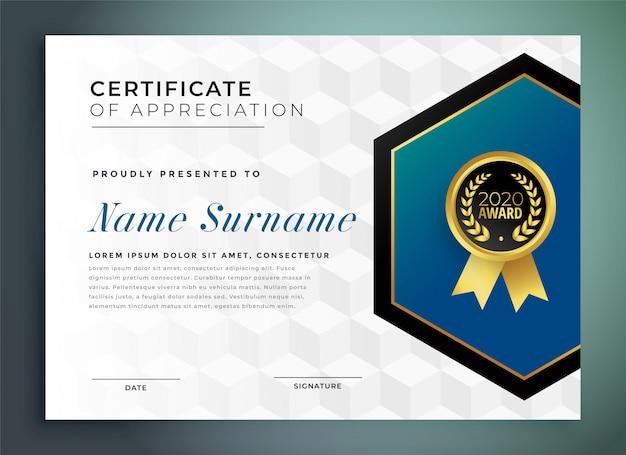 Geometrische multifunctionele certificaatsjabloon van waardering ontwerp