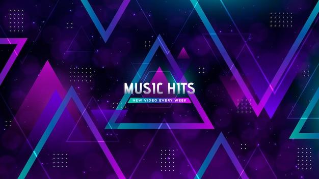 Geometrische muziek youtube channel art Gratis Vector