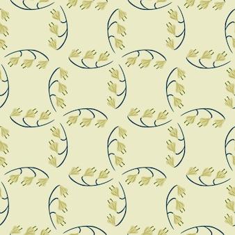 Geometrische naadloze patroon met pastel groene klokbloemvormen.