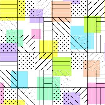 Geometrische naadloze patroon stippen horizontale en diagonale lijnen snijpunten en gekleurde vierkanten
