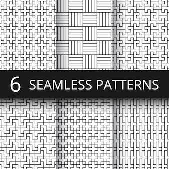 Geometrische naadloze vector patronen instellen. moderne lijnherhalingen met eenvoudige geometrische vormen
