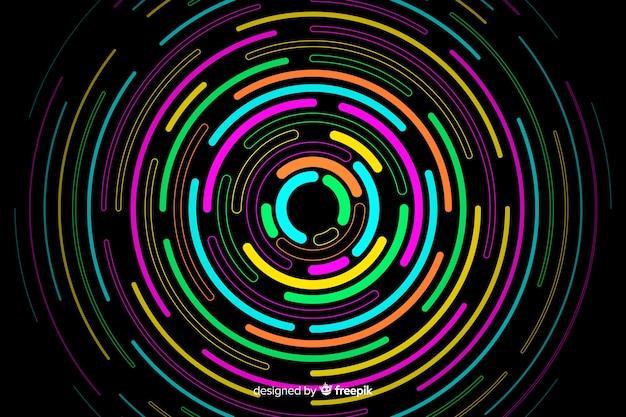 Geometrische neon ronde vormen achtergrond