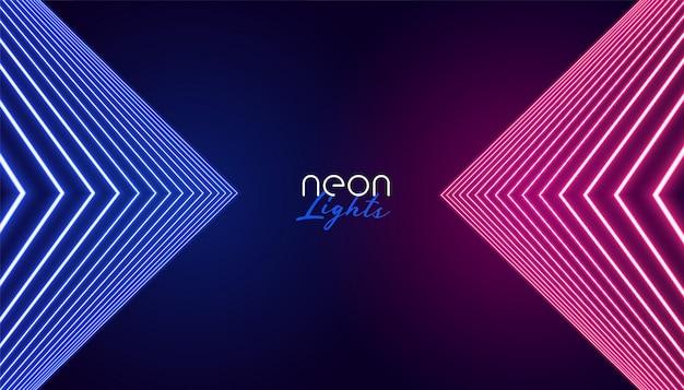 Geometrische neonlichten abstracte achtergrond