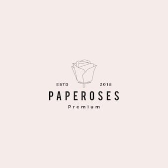 Geometrische papieren bloem roos logo vector illustratie lijn overzicht monoline