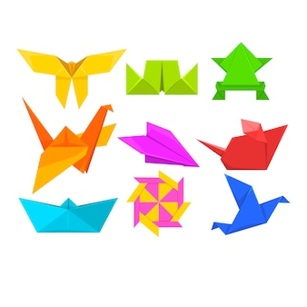 Geometrische papieren dieren en vogels illustraties