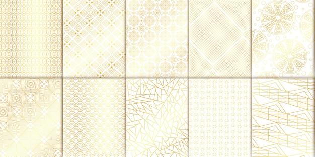 Geometrische patronen mesh achtergronden in gouden tinten. lineaire moderne patronen. vector illustratie