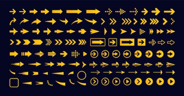 Geometrische pijl naar rechts ingesteld vector pictogram aanwijzer pictogram volgende teken vooruit knop infographic eenvoudig
