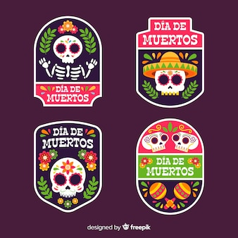 Geometrische platte dia de muertos badge-collectie