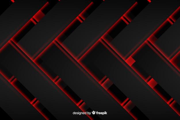 Geometrische rode en zwarte verwarde vormen