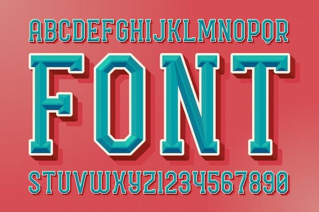 Geometrische schuine lettertypeset