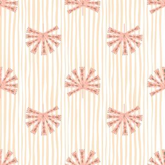 Geometrische sier abstracte monstera silhouetten naadloze patroon. pastelroze gestreepte achtergrond.