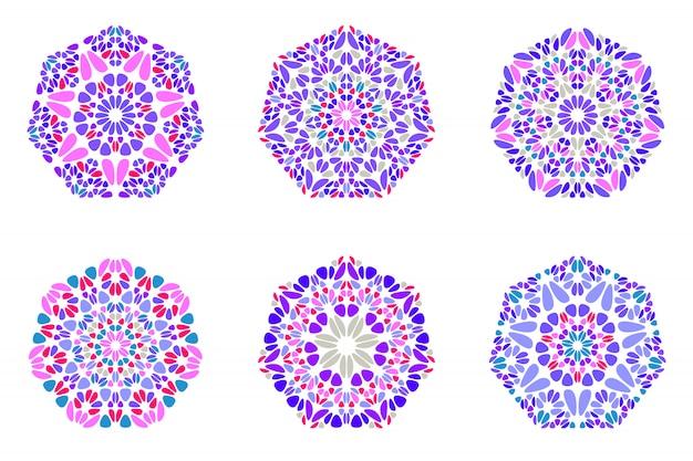 Geometrische sierlijke kleurrijke bloemen zevenhoek logo sjabloon set