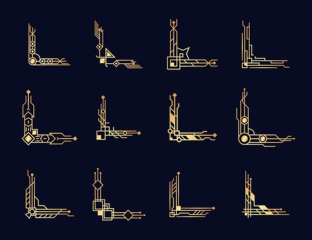 Geometrische sierlijke randen en kaderelementen in luxe retrostijl uit de jaren 1920