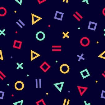 Geometrische stijl naadloze patroon. inpakpapier textuur 80-90s stijl