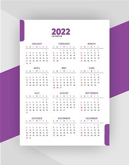 Geometrische stijl professionele 2022 kalender meganda ontwerpsjabloon