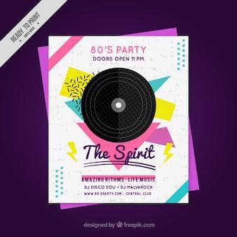 Geometrische tachtig poster party met vinyl