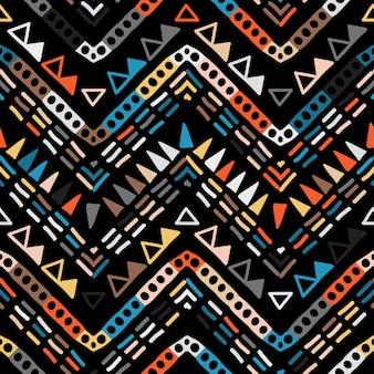 Geometrische tribal etnische naadloze patroon in azteekse stijl. Premium Vector