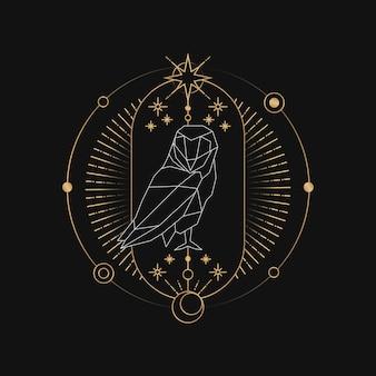 Geometrische uil astrologische tarotkaart