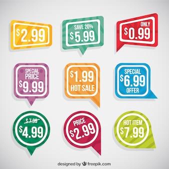 Geometrische verkoop stickers met witte kaders